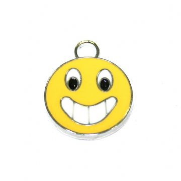 1pce x17*17mm Rhodium plated yellow cute smily face enamel charms - S.D03 - CHE1059